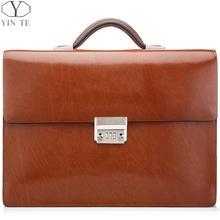 YINTE Fashion Men's Briefcase Leather Brown Bag Laptop Bag Lawyer Messenger Attache Case Totes Briefcase Portfolio T8572-5