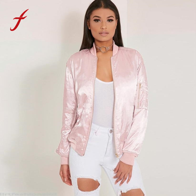 2017Women Casual Tops Spring Zipper Vintage Jacket Coat Female Outwear Long Sleeve Casual Pink 2017 New Hot Fashion Style brand