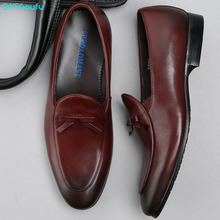 QYFCIOUFU Brand High Quality Vintage Men Dress Shoes Genuine Leather Slip-on Wedding Business Office Tassel Suit