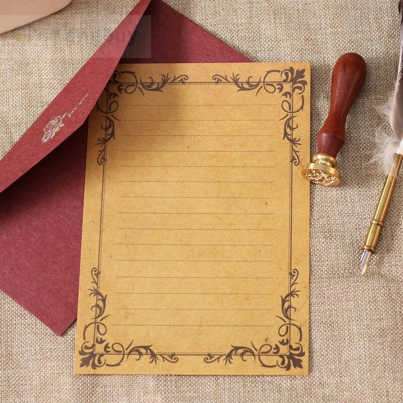 80sheets Vintage Kraft Writing Paper European Style Retro Letter Paper A5