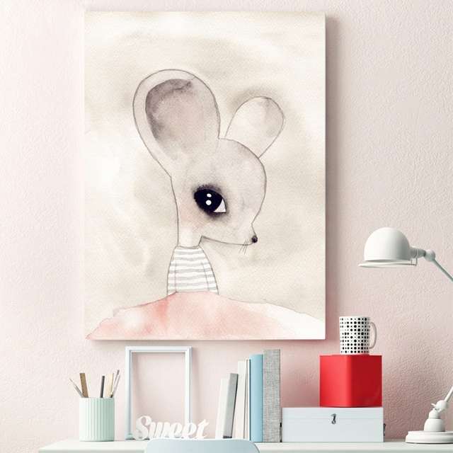 cute mouse girl print pictures wall art watercolor cartoon animal
