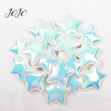 JOJO BOWS 10pcs Synthetic Leather Patches Bright Solid Mirror Pentagram Accessories Clothing Sewing Supplies For DIY Hair Bows