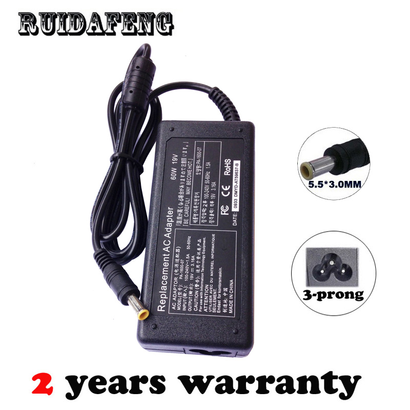 19V 3.16A 60W Power AC Adapter Supply For Samsung AD-6019 AD-6019R CPA09-004A ADP-60ZH D PA-1600-66 ADP-60ZH A Charger