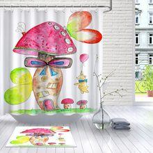 LB Watercolor Bear With Balloon Mushroom House Best White Shower Curtain And Mat Waterproof Bathroom Fabric