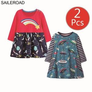 Image 4 - SAILEROAD 2 sztuk owoce jabłko drukuj dziewczyny sukienka z kieszeniami Vestidos 5 lat księżniczka dziecko sukienka dla dzieci ubrania Vestido Unicornio