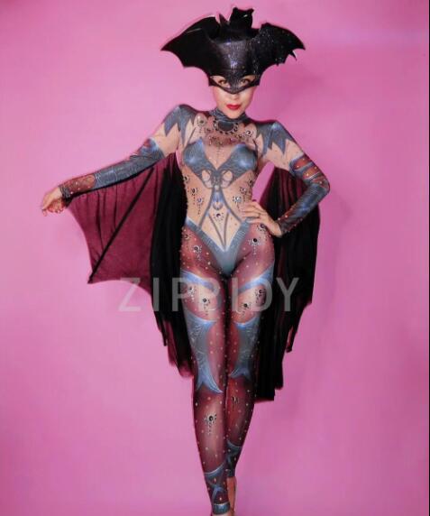 2018 belle chauve-souris strass imprimé Stretch combinaison soirée bal fête body femmes chanteuse danseuse discothèque Cosplay Show Outf