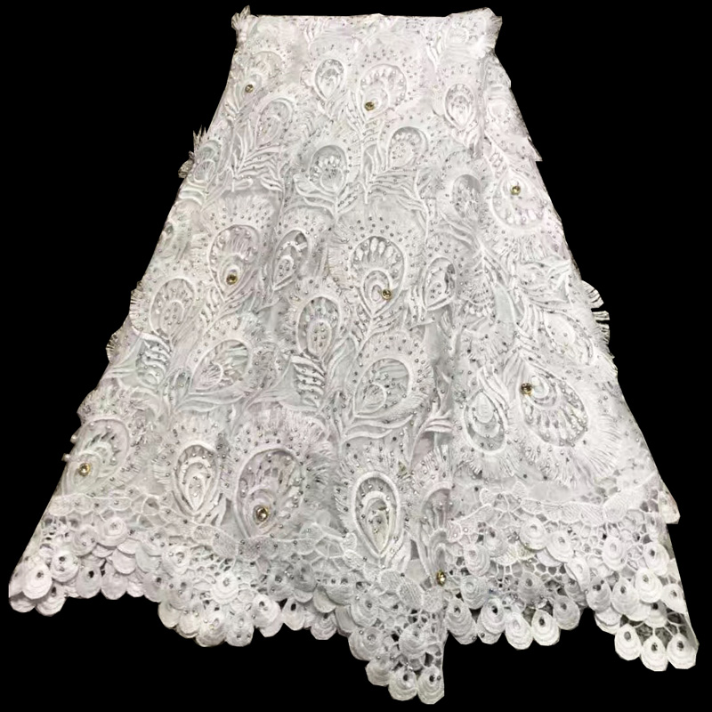 Free shipping (5yards/pc) high quality white colord African wedding lace fashion French lace with beads stones for dress FLV43Free shipping (5yards/pc) high quality white colord African wedding lace fashion French lace with beads stones for dress FLV43