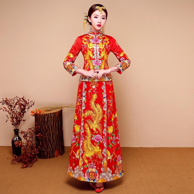 Asian Bride Wedding Dress Vintage Dragon&Phoenix Cheongsam