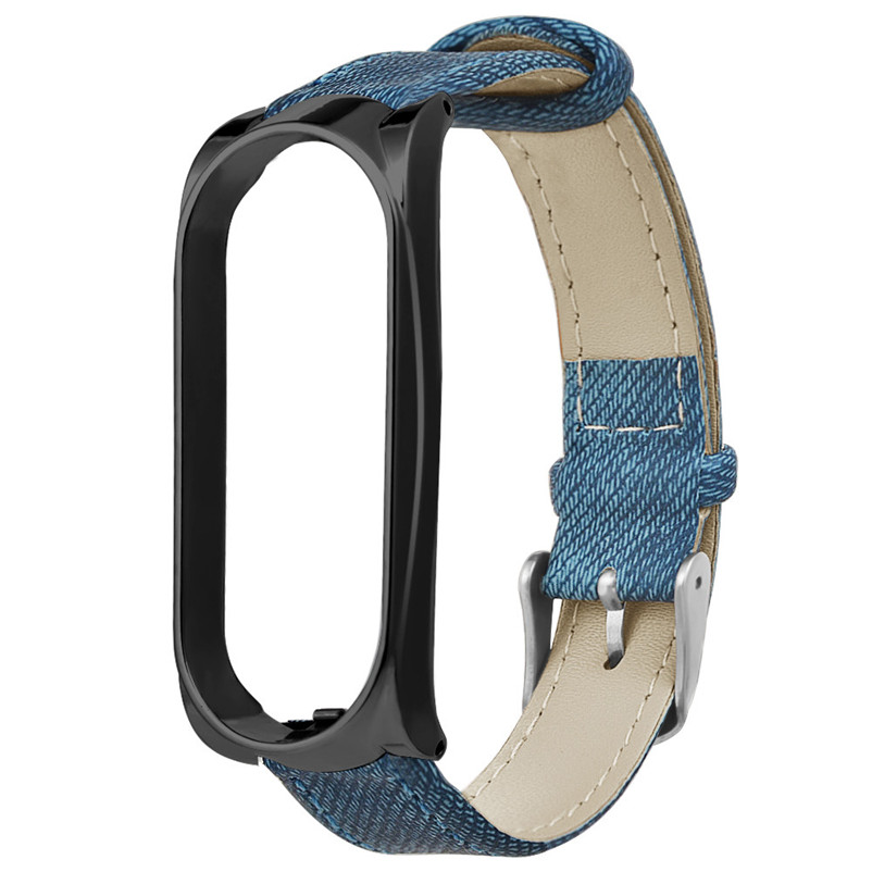 For Xiaomi Mi Band 3 Blue Denim Leather Wrist Strap +Metal Case Replacement Wristband Watch Band For Xiaomi Mi Band 3 40NT21