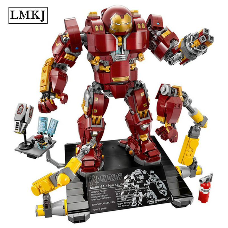 все цены на Marveled Infinite War Super Heroes Avengers Hulkbuster Model Building Block Bricks Toy Compatible With Legoingly онлайн