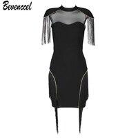 Women Dress New Sexy Bandage Dresses 2019 Black Short Sleeve Tassel Mesh Patchwork Hollow Out Vestidos Celebrity Party Dress