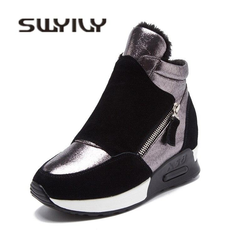 SWYIVY Plataforma Tênis do Inverno da Mulher 2018 Outono Inverno Quente de Pelúcia de Veludo de Algodão Acolchoado Sapatos Wedge High Top Sneakers de Lazer