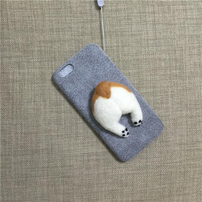 Corgi case handmake igły filcu wełnianego słodkie cat dog tyłek tyłek pokrywa dla apple iphone 6 6s plus iphone 7 7 p miękkie telefon komórkowy case 10