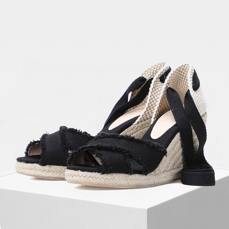 Summer women wedge sandals 90mm heel height Wedges shoe women lace up in black and white colorSummer women wedge sandals 90mm heel height Wedges shoe women lace up in black and white color