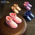 2016 Zapatos Nuevo Color Sólido de Los Niños de la Nieve del Invierno de Los Niños Caliente Niña y Niño Botas de Bebé de Cuero Niños Zapatos de la Felpa
