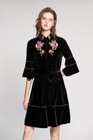 High Quality Brand Design Floral Embroidered Velvet Dress 2017 Autumn Runways Women S Flare Sleeve Lapel