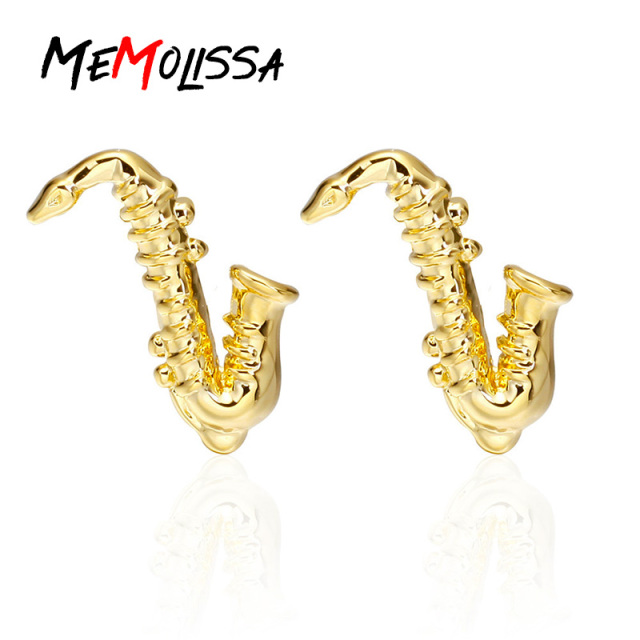 Memolissa Formal Golden Sax Cufflink Mens Suits Buttons Geometric Wedding French Grooms Shirt Cuff Links