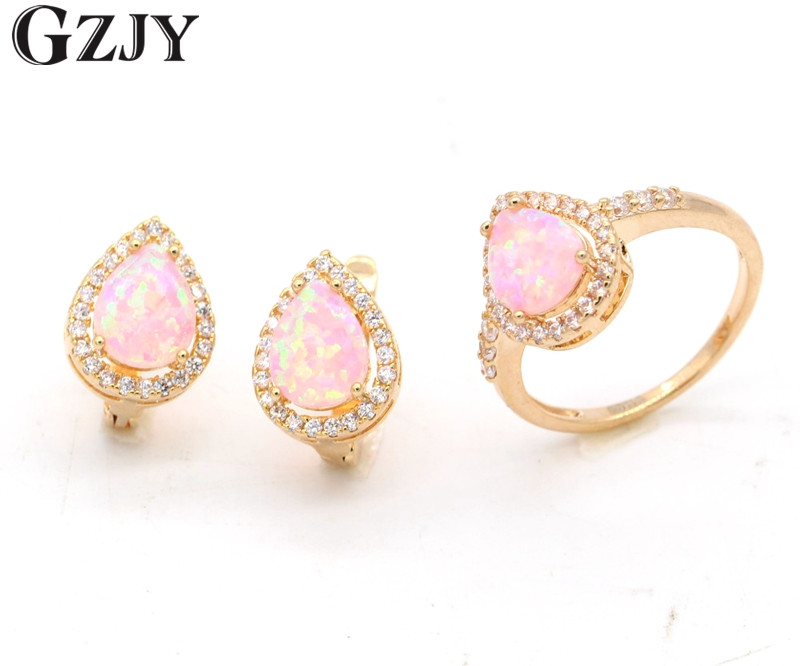 GZJY Fashion Jewelry Set Charming Pink Fire Opal Champagne Gold Color Zircon Earrings&Ring Sets For Women Wedding Party Jewelry charming solid color footprint cuff ring for women
