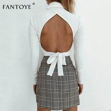 Fantoye Sexy Long Sleeve Knitted Shirt Tops Women 2018 Autumn Slim Bac