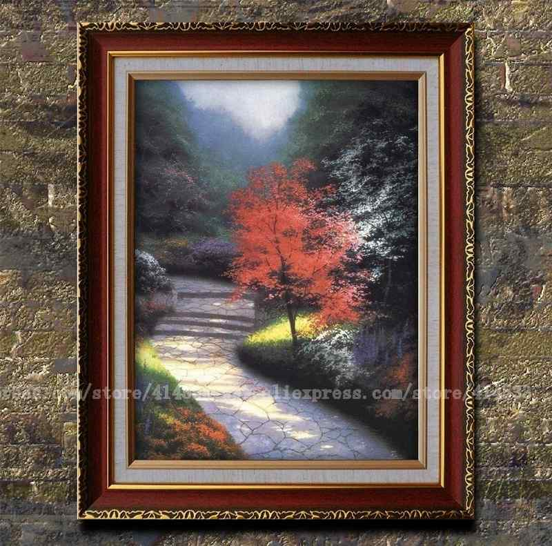 Prints Of Thomas Kinkade Oil Painting Afternoon Light Dogwood Landscape Painting Modern Wall