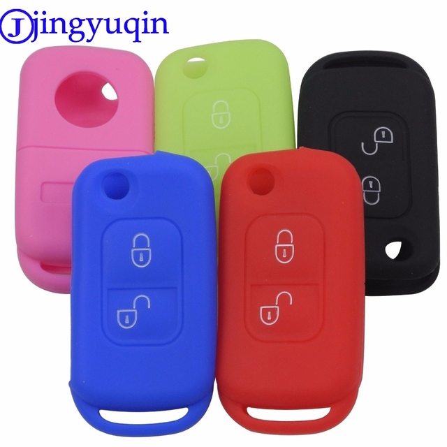 jingyuqin Silicone Key Fob Case Cover For Mercedes Benz E113 A C E S W168 W202 W203 Two 2 Buttons Flip Folding Car Accessories