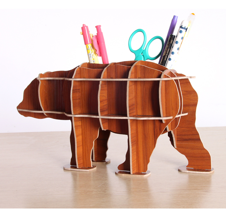 Kawaii artwork bear wood diy pen holder pens stand pencil Diy pencil holder for desk