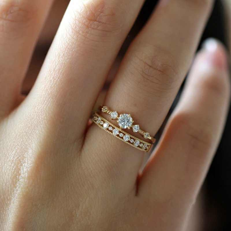 Cute Dainty Women's Snowflake  Rings Delicate Rings Rings Wedding Jewelry