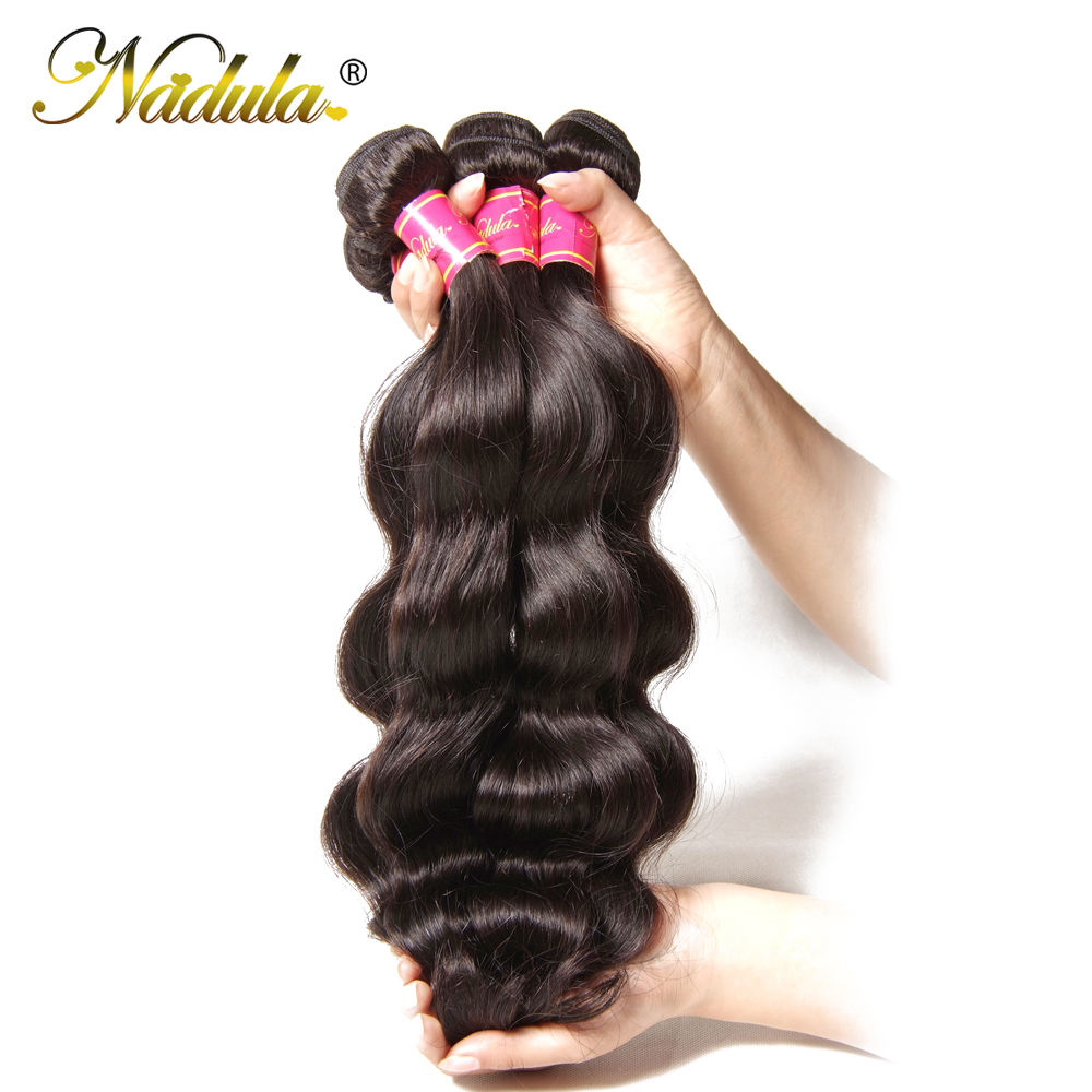 Nadula Hair Brazilian Body Wave Human Hair Weaves 3 STKS / 4 STKS - Menneskehår (sort)