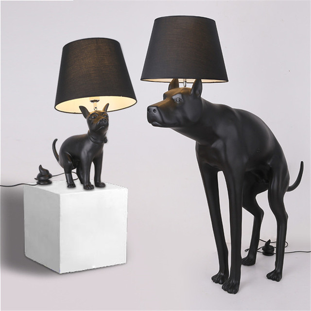Animal Creative Personality Desk Lamp Big Dan Dog Black Table Lamp Bedroom  Living Room Decoration Puppy