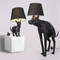 Tier kreative persönlichkeit schreibtisch lampe großen Dan hund schwarz tischlampe schlafzimmer wohnzimmer dekoration welpen tischlampe
