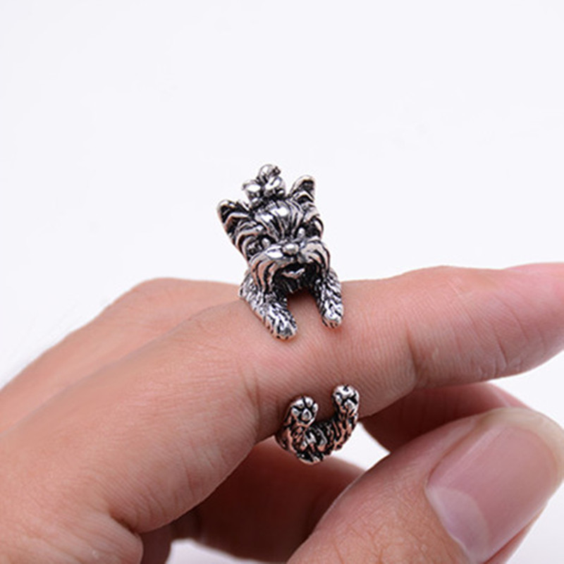 Fashion Cute Vintage Yorky Terrier Rings Streched Animal Yorkshire Puppy Adjustable Dog Rings for Women 3 Colors Available