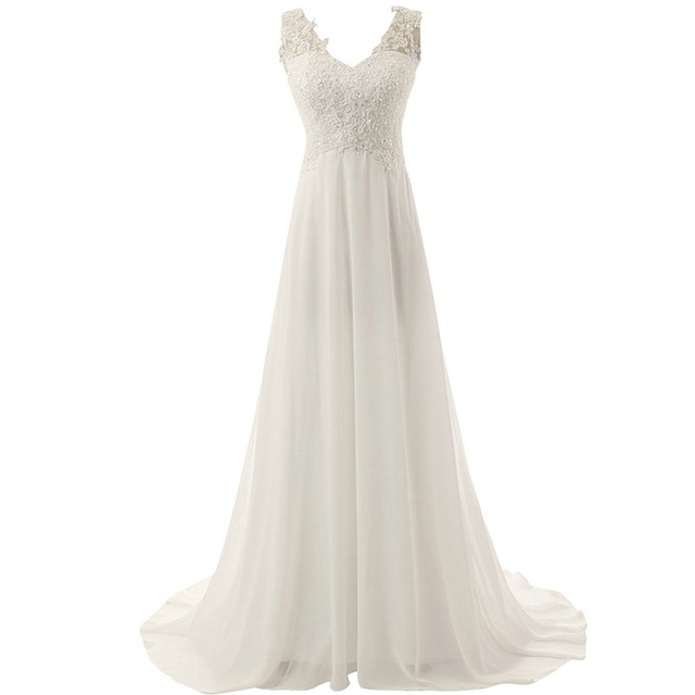 LAMYA Wedding Dress 2019 Beach Bridal Gown Chiffon Lace Appliques Wedding Dresses White/Lvory Backless Vestido De Noiva 2