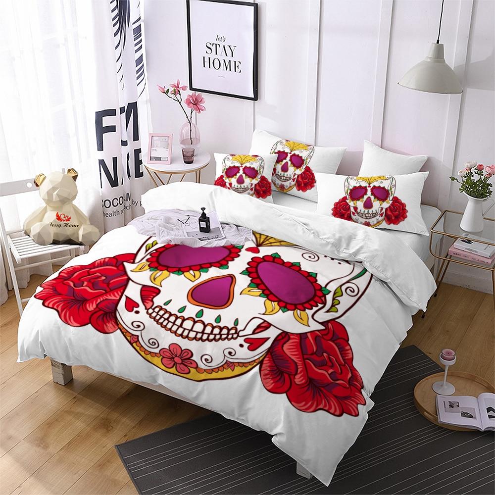 skull bedding set red queen king size printed bed sets rose 3pcs black home textiles us au ru. Black Bedroom Furniture Sets. Home Design Ideas