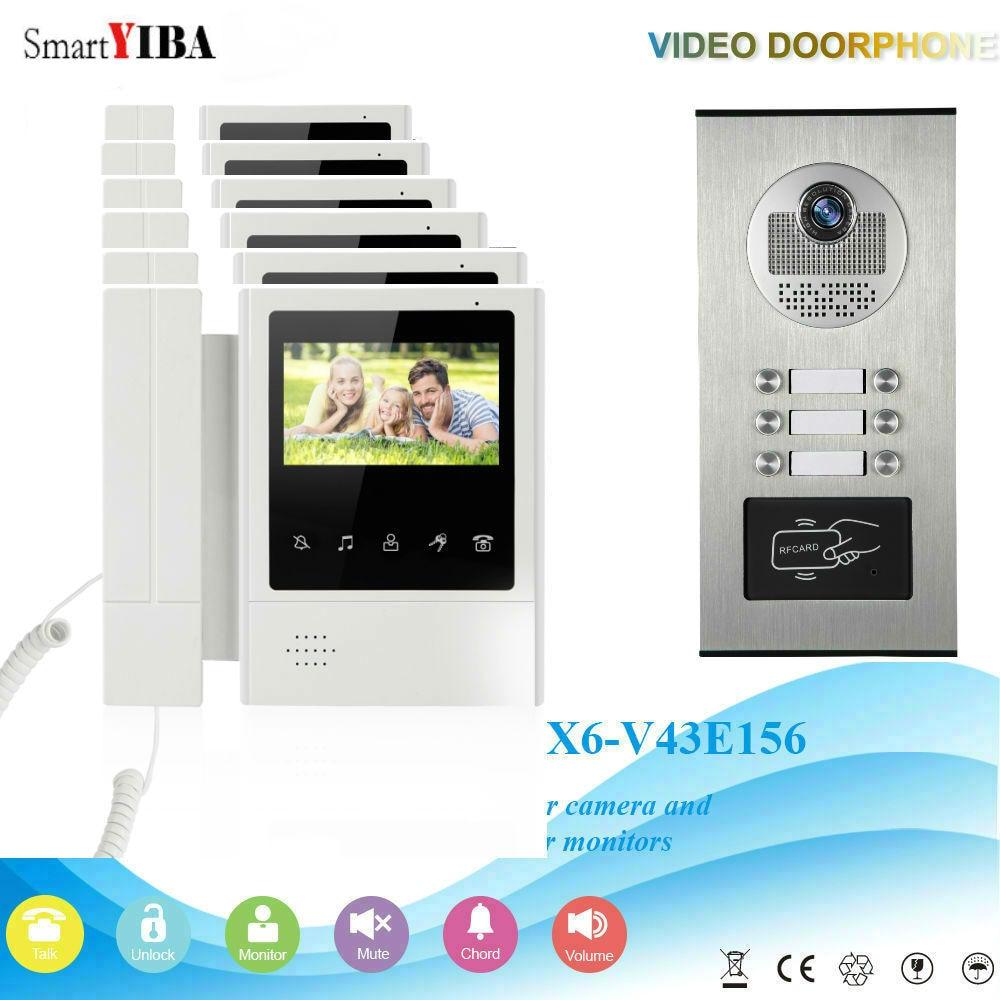 SmartYIBA 6 Units 4.3'' Color Apartment Video Door Phone Intercom Camera Video Door Intercom Kit With RFID Access Camera