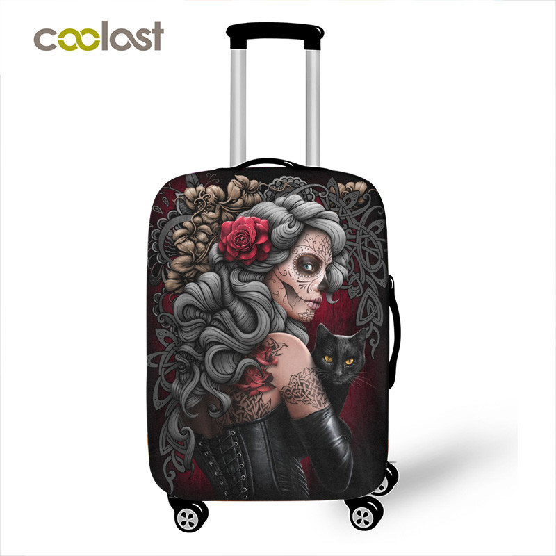 Dark Gothic Skull / Beauty Luggage Protective Cover Waterproof Elastic Suitcase Covers Travel Accessories Covers For 18-32 Inch