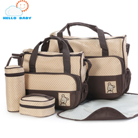Fashion Comfortable Convince Soft New High Quality 5 Each Set Hand Bags Diaper Nappy Durable Bag