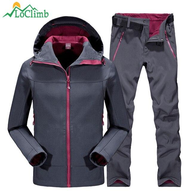 329c482fa54 LoClimb Winter Camping Hiking Pants Men Women Outdoor Sport Fleece Trousers  Trekking Ski Jacket Softshell Waterproof