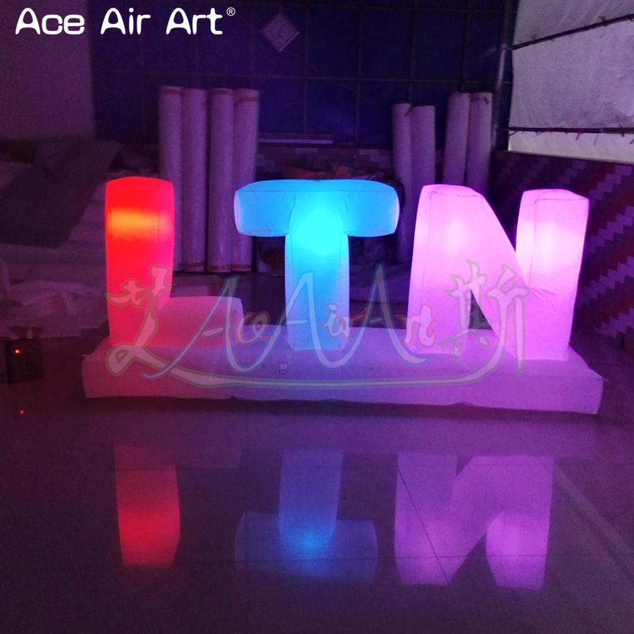 Customized led lighting inflatable letters of alphabet advertising billboard colorful letters set balloon for sale - 4