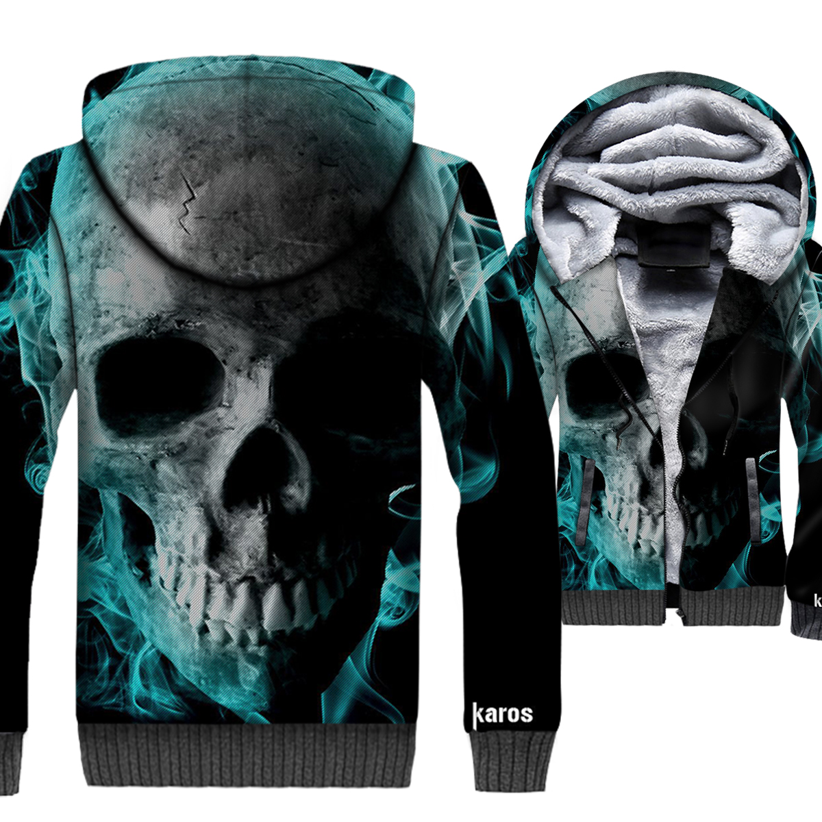 2019 Winter 3D Hoodies Skull Print Hip Hip Jackets Men Punk Gothic Sweatshirts Thick Warm Men 39 s Hooded Adult Hipster Streetwear in Jackets from Men 39 s Clothing