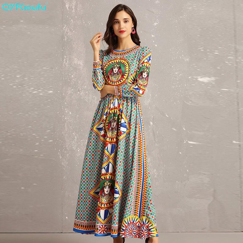 QYFCIOUFU nouveauté 2019 été femmes Maxi robe à manches longues mode piste robe géométrique imprimé élégant dames robes