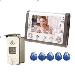 SmartYIBA 7''Inch Monitor Home Security Wired Vídeo Porta Telefone Campainha Intercom Entrada Sistema RFID Keyfob 1 Monitor 1 Câmera Kit