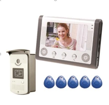 SmartYIBA Home Security 7''Inch Monitor Wired Video Door Phone Doorbell Entry Intercom System RFID Keyfob 1 Monitor 1 Camera Kit