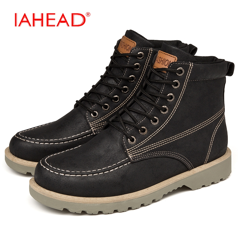 IAHEAD Men Boots Chelsea Boots Men Winter Flats Fashion Casual Shoes Work Boots Men Ankle Boots botas masculinas MU502 iahead men boots men chelsea boots winter lace up flats casual shoes men leather ankle boots chaussure homme de marque mh598
