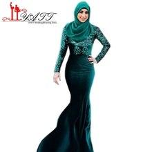 Mermaid Evening Dresses Arabic Dubai Long Sleeve Sequined Hijab Muslim Arabic Velvet Prom Dress 2017 Moroccan Kaftan Gown ZY168