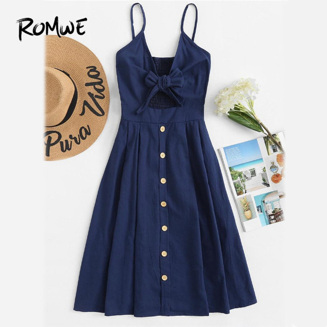 7a16f258835f8 ROMWE Single Breasted Front Knot Cami Dress Navy Fit and Flare Slip Casual  Dress 2019 Spaghetti Strap Sleeveless Dress
