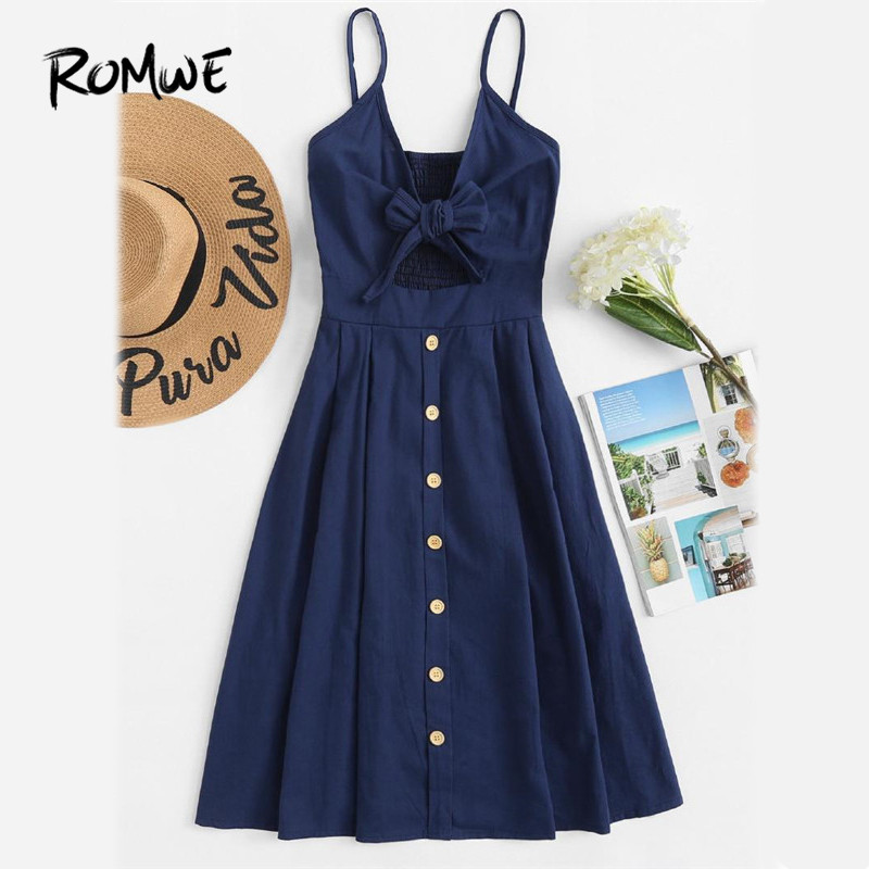ROMWE Single Breasted Front Knot Cami <font><b>Dress</b></font> <font><b>Navy</b></font> Fit and Flare Slip Casual <font><b>Dress</b></font> 2018 Spaghetti Strap Sleeveless <font><b>Dress</b></font>