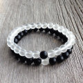 Couples Beaded Bracelet 8mm Matte Onyx and Frosted Quartz His and Hers Stretch Bracelet pulseras mujer Christmas Gift