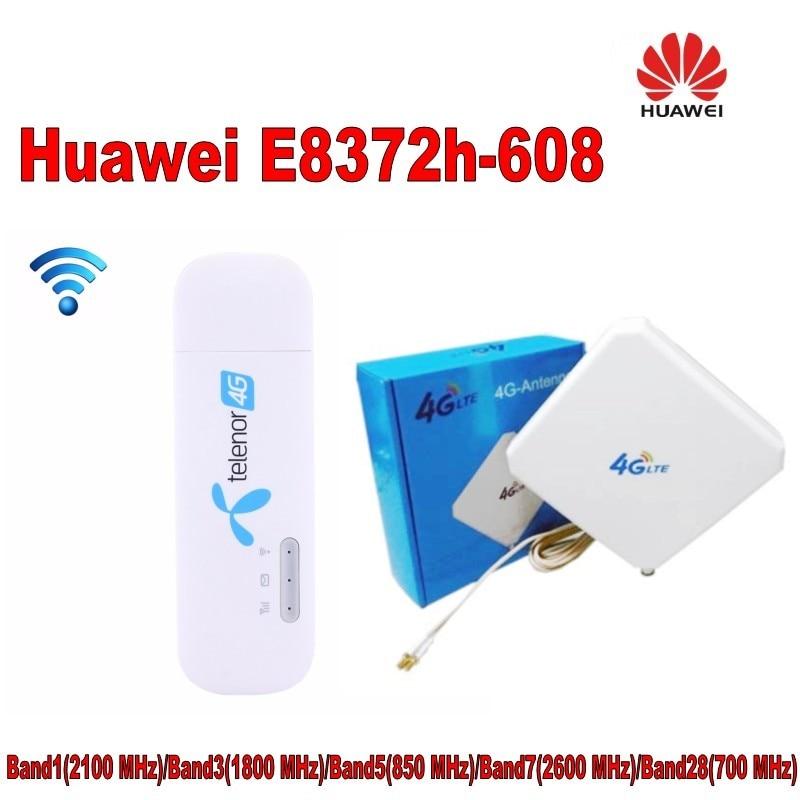 Huawei E8372h LTE 4G 3G USB 2.0 Mobile Wi-Fi 150 Mbps sans fil Wingle + 4G TS9 35dbi double antenne
