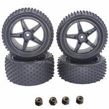 4 unids/set Goma Delantera Trasera 1:10 Buggy Neumáticos y Llantas 12mm hexagonal para el modelo de rc coche hsp redcat off road neumáticos