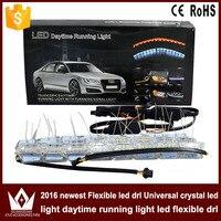 Tcart 2pcs 8w White Yellow Flexible Headlight Daytime Lamp Strip Crystal Angel Eye DRL Decorative Light